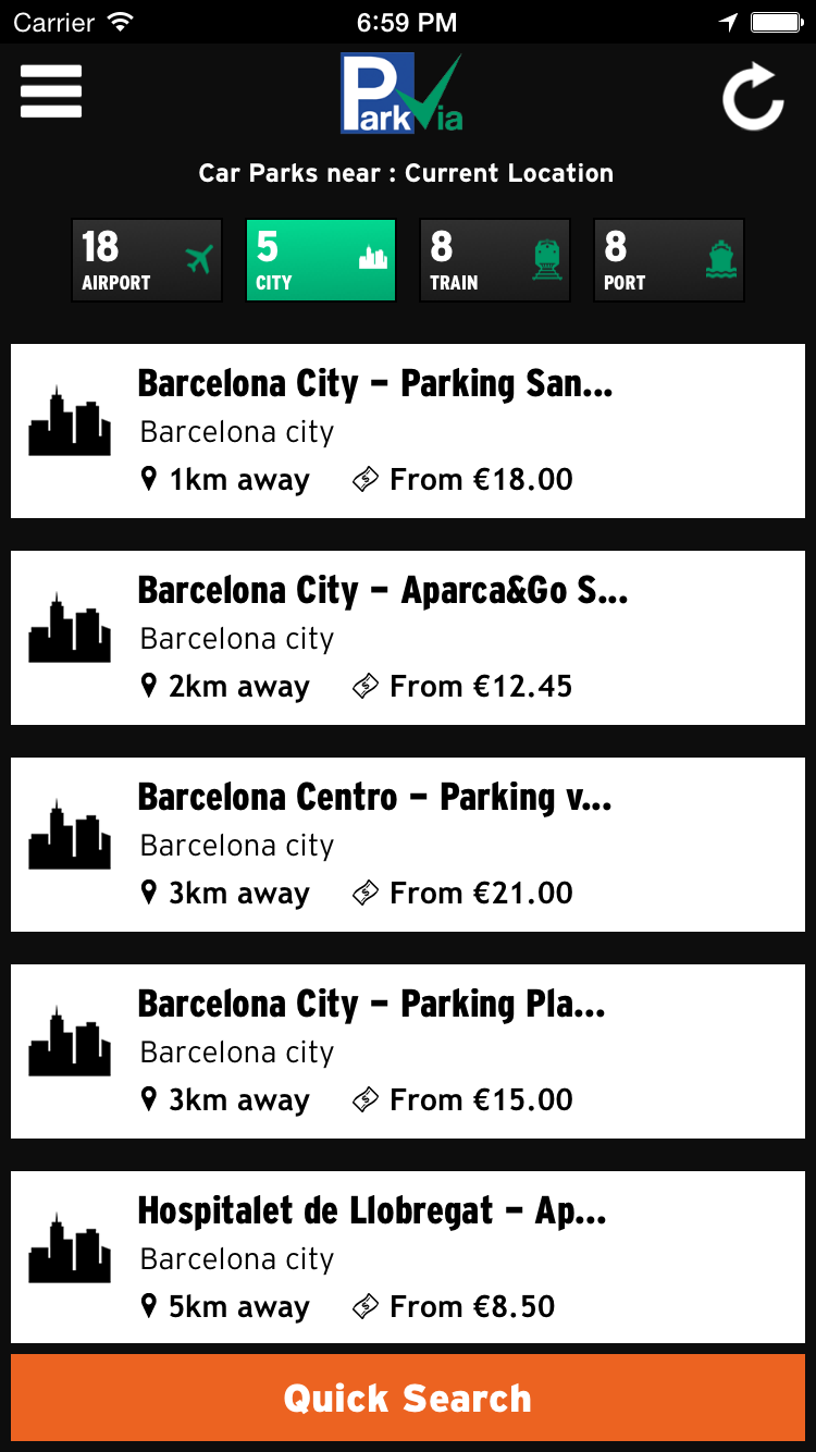 ParkVia app screenshot